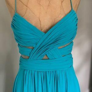 High low aqua blue dress
